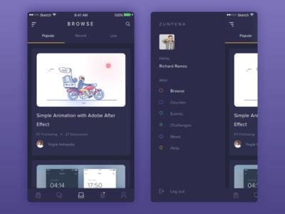 Zunpena - Design Courses App zunpena web ux ui online design dark courses app