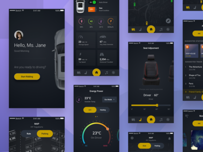 Future Car App Concept concept future dark sharing iot robot car tesla apps mobile ux ui