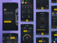 Future Car App Concept concept future dark sharing iot robot car tesla apps mobile ux ui