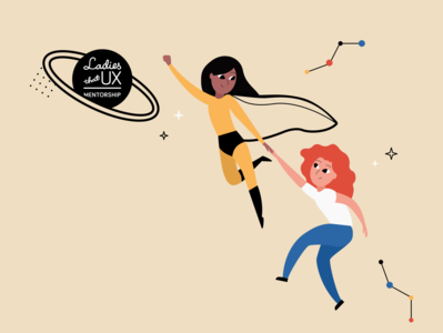 She leads me mentorship ladies that ux ltux ladies girl illustration women in tech woman space heroine leadership