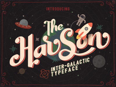 Harson Inter-Galactic Typeface display space astronout rocket typeface magazine movie poster retro vintage handlettering font