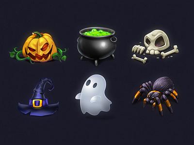 Halloween Iconic Illustration #1 skull spider spooky scary ghost pumpkin icns ico icon set icon halloween 2017 halloween