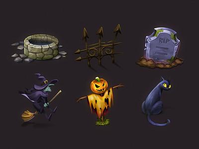 Halloween Iconic Illustration #2 halloween halloween 2017 icon icon set ico icns pumpkin ghost scary spooky spider skull