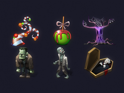 Halloween Iconic Illustration #3 skull spider spooky scary ghost pumpkin icns ico icon set icon halloween 2017 halloween