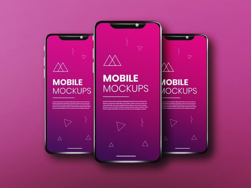 Realistic & clean app screen three smartphone mockup phone mockup ux mockup ui mockup app mockup