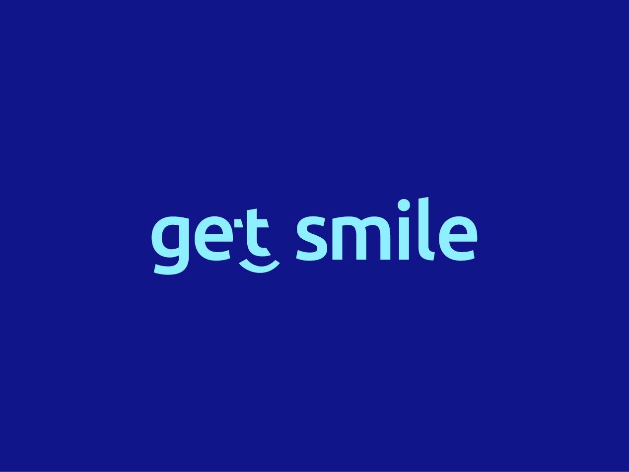 Get Smile logotype logomark blue letter clever logo tooth face dentist smile