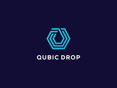 Qubic Drop lines hexagon cubic dropbox logotype logo