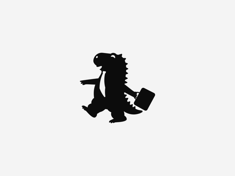 Jobjira black cute silhouette godzilla job mascot logo