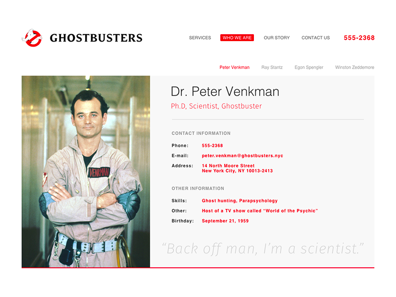 DailyUI 006 - User Profile peter venkman bill murray venkman ghostbusters profile user profile dailyui006 dailyui 006