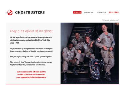 Fictional Ghostbusters Website webdesign website ghostbusters