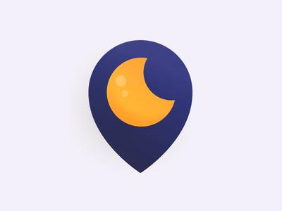 Hotel Pin night moon vector hotel pin logo location identity icons icon branding brand