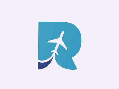 'R' mark plane icon symbol mark logo identity brand geometry space negative vector illustration