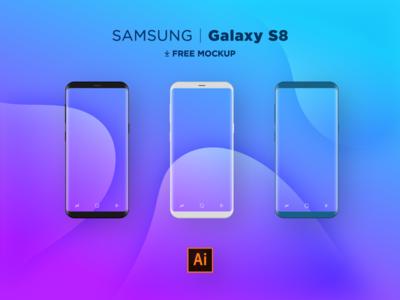 Samsung S8 Flat Mocks .AI design illustration free vector ai illustrator flat smartphone s8 samsung mock