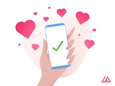 Hand - Valentine's Day vector illustration heart love mobile hand female