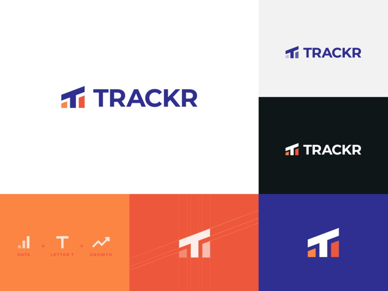 Trackr ad tech letter tracking symbol platform monogram monitoring mark logo project logo design logo integration identity icon grid data branding applications abstract