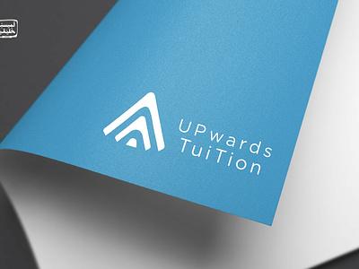 Upwards Tution Logo Design branding minimal education powerup arrow power icon logo design logo