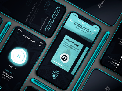 Hello Jane - Coming Soon! progress app concept iphone phone app waves aqua blue timeline onboarding bot sofriendly quote peace relaxation media player music app meditation ui  ux design ux design