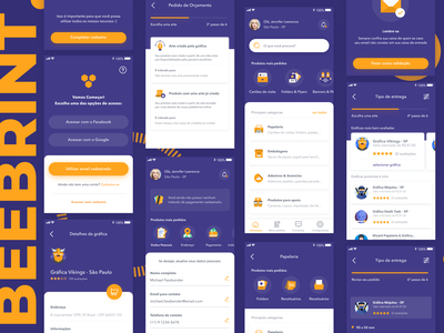 Beeprint App - Final Shot 🐝 mobile app mobile ui service ios release print bee purple graphics ux gradient icon illustration app card ui design simple clean