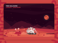 Curiosity - Free Desktop Wallpaper 👩🏻‍🚀 desktop wallpaper design vector ui alien orange planets rover mars curiosity freebie wallpaper resource illustration