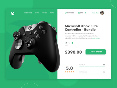 Xbox product details -  interface concept 🎮 microsoft eccomerce review games rate details page green controller xbox product cart card ui design simple clean concept