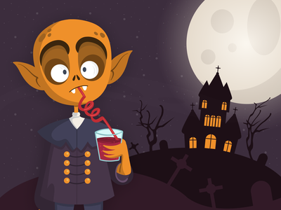 Horror Scene - Visual Composition 👻 cartoon visual design game fun yellow flat style terror horror vampire halloween dark simple clean concept illustration