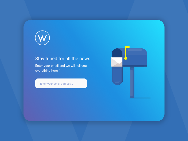 Subscribe Mail Card Concept gradient web mail illustration blue subscribe card