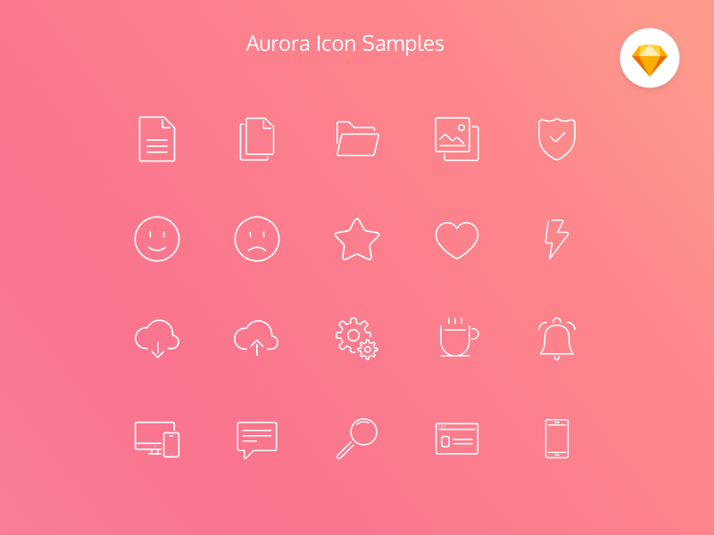 Aurora Icon Set (Free resource) clean inline resources free icon