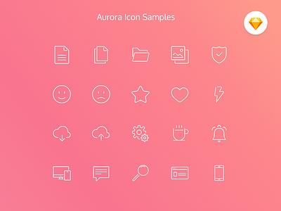 Aurora Icon Set (Free resource) clean inline resources free icon