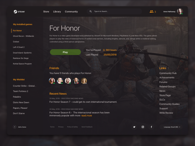 Steam Library Redesign concept dark social for honor game web redesign steam