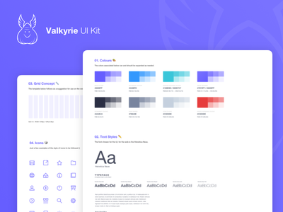 Valkyrie UI Kit ⚔️ - Free Resource colours valkyrie nordic sketch freebie branding ui elements vector icon freebie free ui kit gradient clean ux simple typography ui design concept card