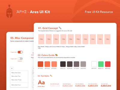 Ares Ui Kit 🇬🇷-  Free Resource ui kit ui kits material web red icon ux typography concept clean illustration vector card simple design ui