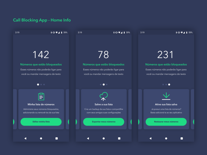 Call Blocking App - Home Info 📞 dark app green card control call icon ux typography concept clean vector material illustration app ui design simple dark
