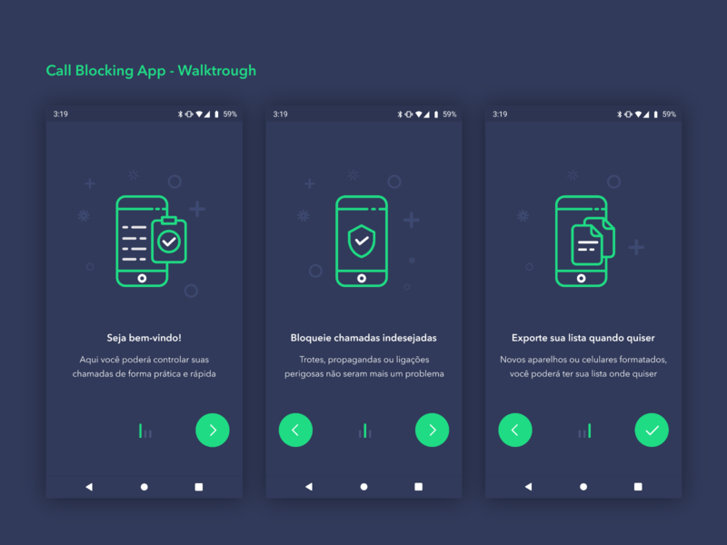 Call Blocking App - Walktrough 📞 dark app green card control call icon ux typography concept clean vector material illustration app ui design simple dark