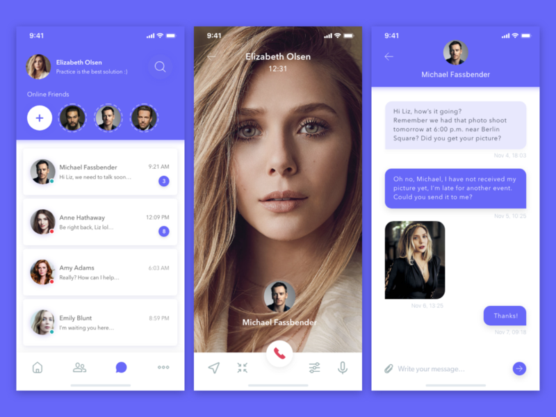 Hero Chat - Concept Design 💬 ios 10 message app videochat profile typography chat chat app white purple icon card clean ios gradient app ui design simple concept