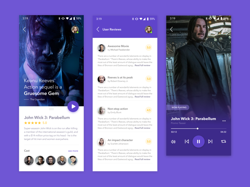 App Concept - Movie Preview 🎥 ios movie app cast review trailers john wick android app material gradient app ui design simple clean card concept