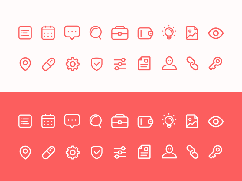 Misc Rounded Icons Set 🎲 icon line icons rounded white red icons design icons pack icons icon design iconography icon set illustration material vector ios app ui simple concept