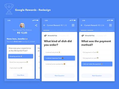 Google Rewards Redesign 🏆 android app emoji set progressbar quiz app rewards google redesign concept ux icon typography material app ui design simple clean card concept
