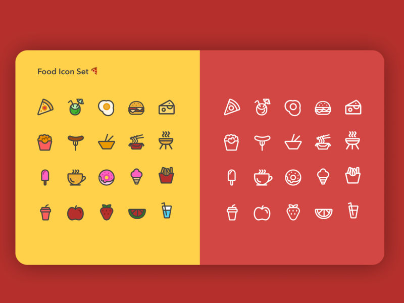 Food - Icon Set 🍔 food icons icon set food icon simple vector clean illustration app ui design concept