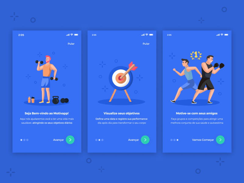 Walkthrough - Workout App 🏋️‍♀️ steps buttons walkthrough blue workout app ux typography vector icon illustration material ios gradient app ui design simple clean