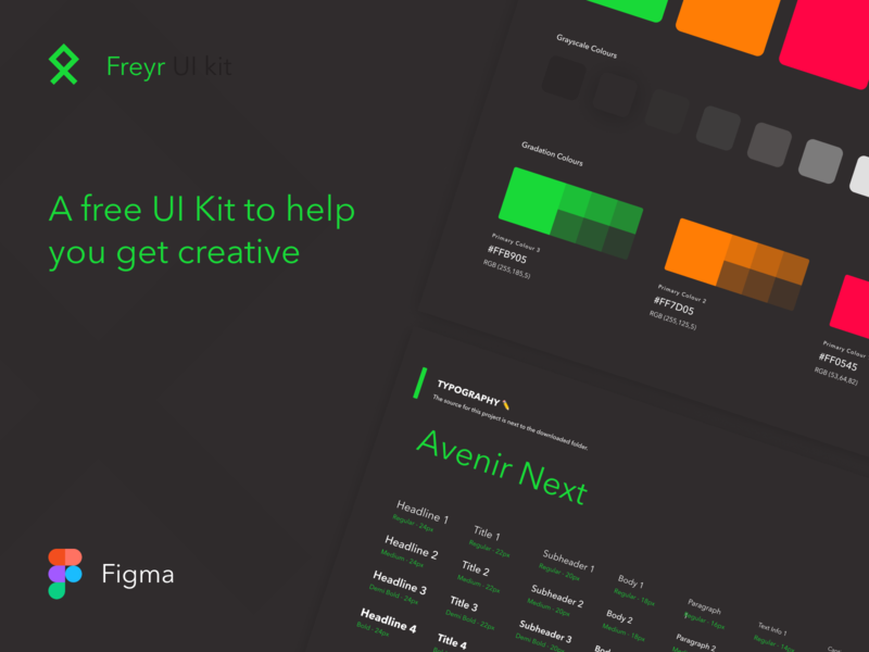 Freyr UI Kit 🗡 nordic viking typography colors components kit figma freebie ui kit material dark ui design simple concept