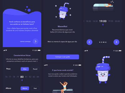 Drink Water App 🥤 onboarding daily ui drink water vector illustration app ui design simple clean card concept