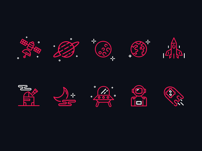 Astronomy Icon Set 👽  icon design iconography icon set planets dark vector icon illustration ui design card simple clean concept