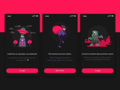 Empty States - Funny Error Cases 👽 red abduction zombies thief error halloween empty state vector icon illustration dark app ui design simple clean concept