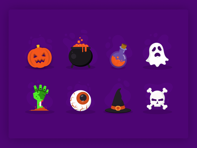 Halloween Illustrations 🎃 horror potions wizard skull ghost zombie pumpkin halloween icon dark clean simple illustration concept