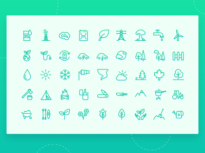 Green Style Icons Set 🌿 icon design iconography camping survival nature green ux icon set vector icon ui design simple clean concept
