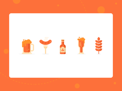 Illustrations Concept - German food 🇩🇪 food beer icon design illustrations oktoberfest germany orange ui clean icon illustration design simple concept