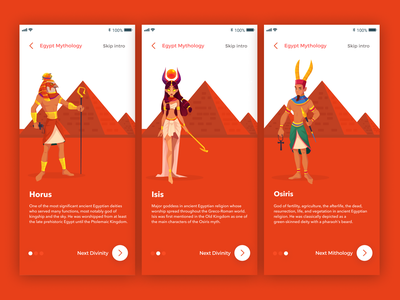 Egypt Mythology - Presentation of deities 🇪🇬 deity sand orange onboarding walkthrough mythology egypt ux ios icon illustration app ui design simple clean concept