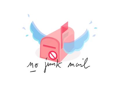 No Junk Mail mailbox zero waste no trash waste illustration