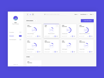 Dashboard projects. management tool dashboard