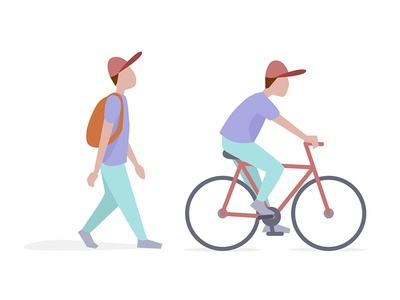 Walk & Bicycle - goal 2018 cap flat illo illustration bicycle walk